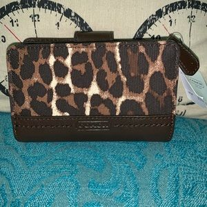 NWT COACH Ocelot/leopard Canvas and Leather Wallet